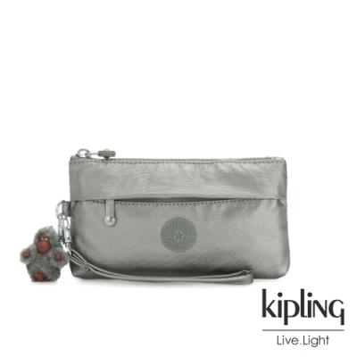 Kipling 個性金屬銀灰色手拿配件包-NIYLAH