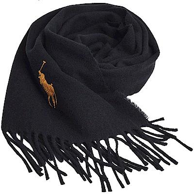RALPH LAUREN POLO 義大利製大馬刺繡LOGO素面羊毛圍巾(黑色系)