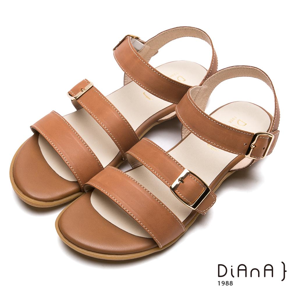 DIANA–三寬版繞帶方金屬釦牛皮涼鞋-樂活悠閒-棕