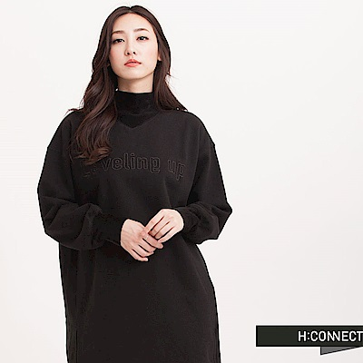H:CONNECT 韓國品牌 女裝 - 英文電繡長版棉T-黑(快)