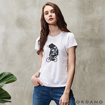 GIORDANO  女裝BOB迷彩小熊印花T恤-01 標誌白