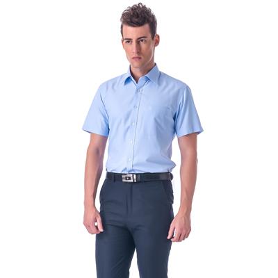 金‧安德森 藍色斜紋窄版短袖襯衫fast