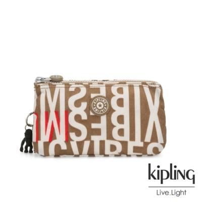 Kipling 音樂派對復古卡其字母印花三夾層配件包-CREATIVITY L