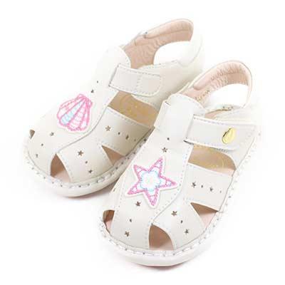 Swan天鵝童鞋-小星星貝殼寶寶學步涼鞋1570-米