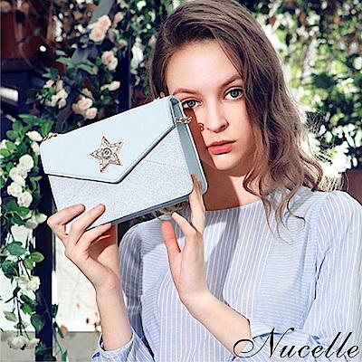 Nucelle 星光璀璨鍊帶信封包 冰晶藍