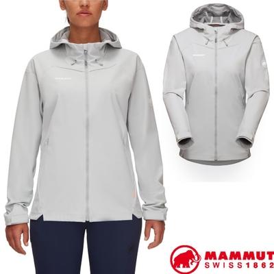 長毛象 女新款 Sapuen SO Hooded 超輕量防潑水防風透氣軟殼連帽外套.夾克_公路灰