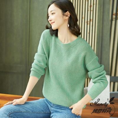 Mandy國際時尚 針織上衣 冬 簡約純色寬鬆顯瘦長袖針織上衣(6色)
