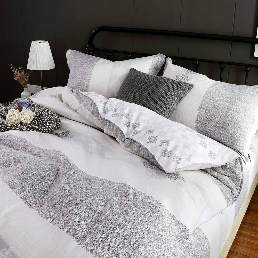 夢工場 沉靜時光60支紗長絨棉床包兩用被組-加大