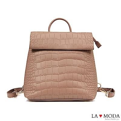 La Moda 個性裝扮蛇紋壓紋大容量多背法肩背後背包(粉)