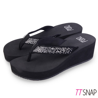 TTSNAP拖鞋-MIT修長顯瘦銀河夾腳中跟涼拖 黑