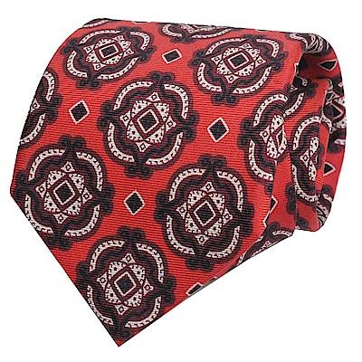 GUCCI 高質感紳士繽紛方塊圖騰100%絲領帶(紅)