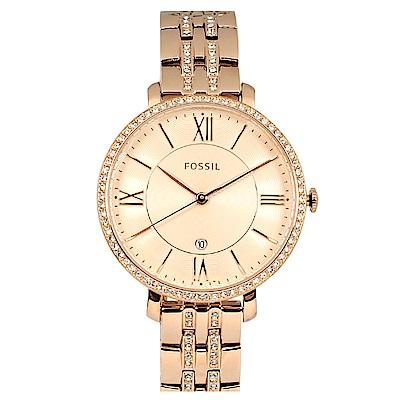 FOSSIL 美國精品手錶Jacqueline晶鑽玫瑰金錶盤錶框金屬錶帶36mm
