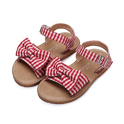 BuyGlasses 日系格紋兒童涼鞋-紅