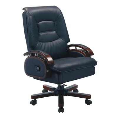 【綠活居】馬坎巴  時尚黑半牛皮革多功能辦公椅-66x50x114-119cm免組