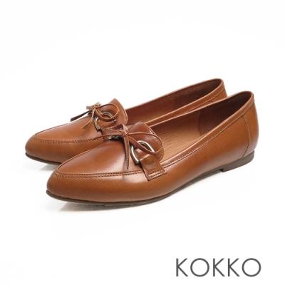 KOKKO - 隨風飄盪蝴蝶結真皮尖頭平底鞋-可可棕