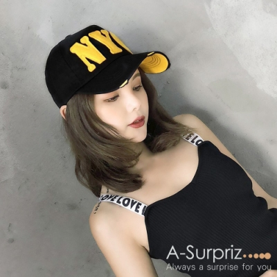A-Surpriz 帥性美式風字母NYC棒球帽 (黑)