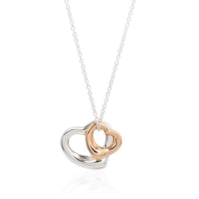 Tiffany&Co. Elsa Peretti純銀&18K玫瑰金雙鏤空愛心項鍊