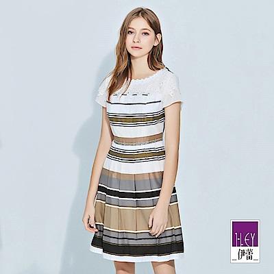 ILEY伊蕾 大地撞色條紋拼接蕾絲棉質洋裝(可)