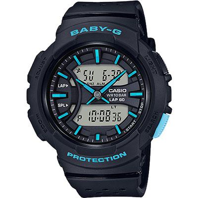 BABY-G 慢跑休閒運動新配色女錶-黑X藍(BGA-240-1A3)/42mm