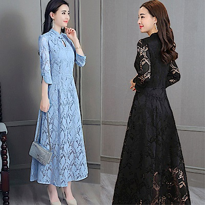DABI 復古風優雅修身收腰蕾絲長裙改良旗袍七分長袖洋裝
