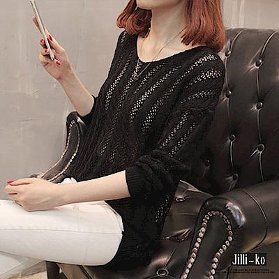 Jilli-ko 後背鏤空繫帶薄款罩衫上衣- 黑/紫
