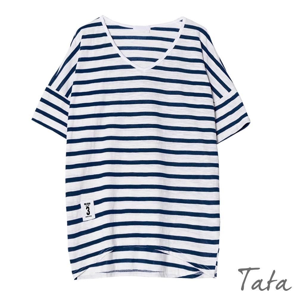 寬鬆V領條紋數字拼布上衣 TATA-F