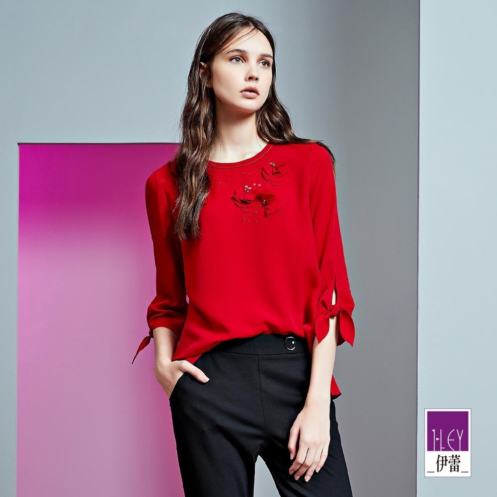 ILEY伊蕾 亮麗花瓣感綁帶袖上衣(紅)