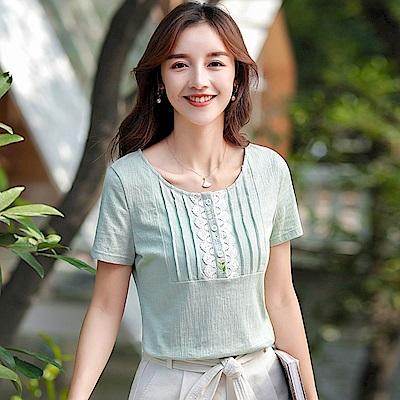 初色  圓領繡花蕾絲短袖上衣-豆沙綠-(L-2XL可選)