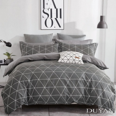 DUYAN竹漾 100%精梳純棉 雙人加大四件式舖棉兩用被床包組-百慕達三角 台灣製