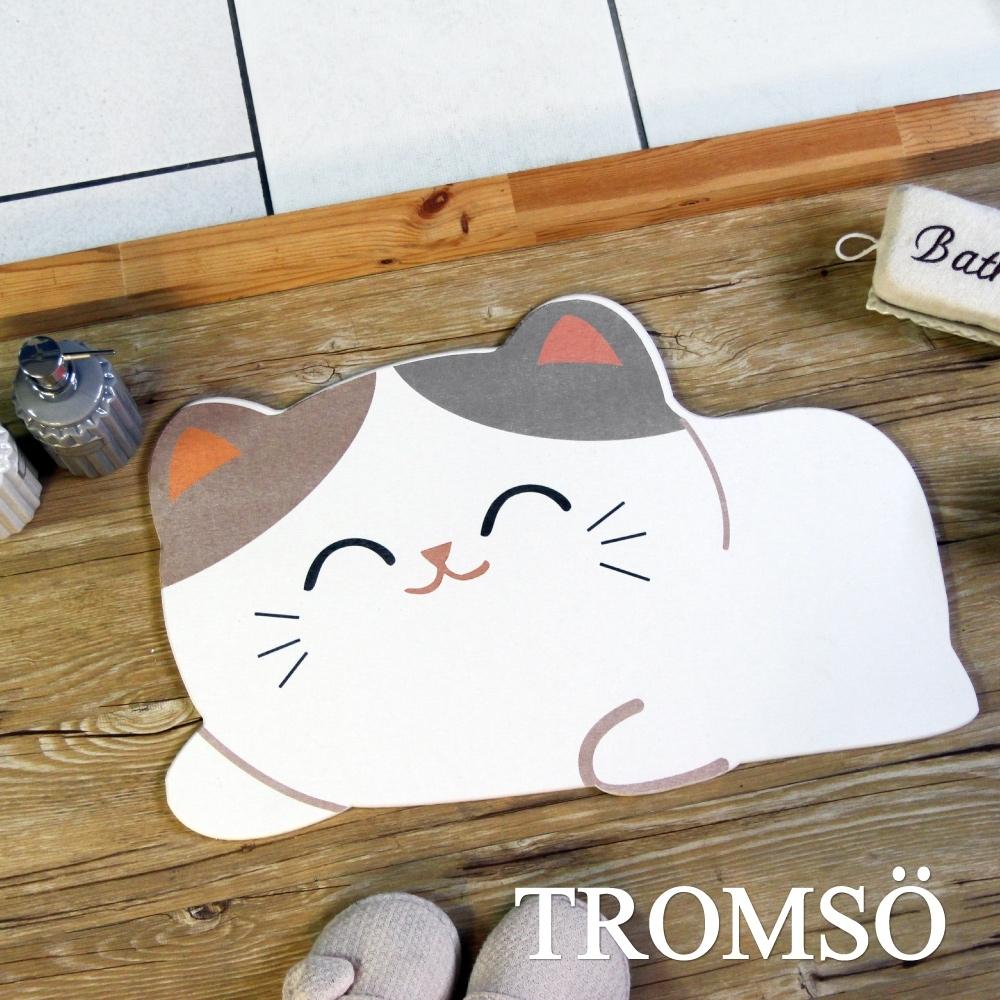 TROMSO珪藻土動物造型吸水地墊-俏皮小貓咪