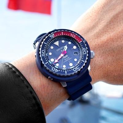 SEIKO 精工 PROSPEX 太陽能 潛水 日期 防水 矽膠手錶-黑x藍/45mm