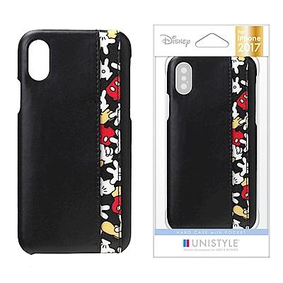 iPhone X 迪士尼 皮革/插卡 三口袋 手機硬殼 5.8吋-米奇