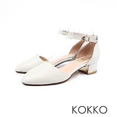 KOKKO - 清晨漫步金屬低跟真皮踝帶鞋 - 晨露白