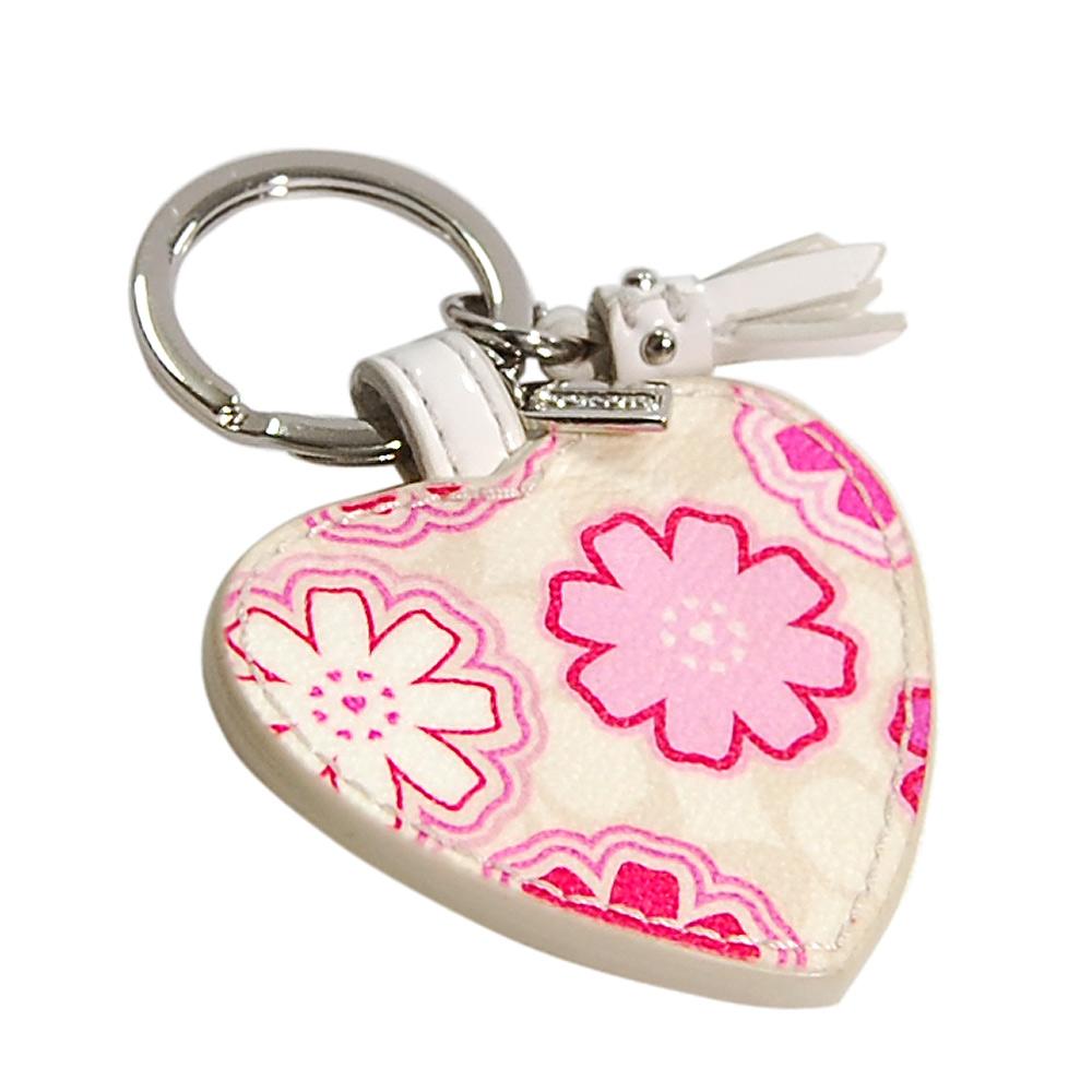 COACH米色C Logo粉紅小碎花心型鑰匙圈