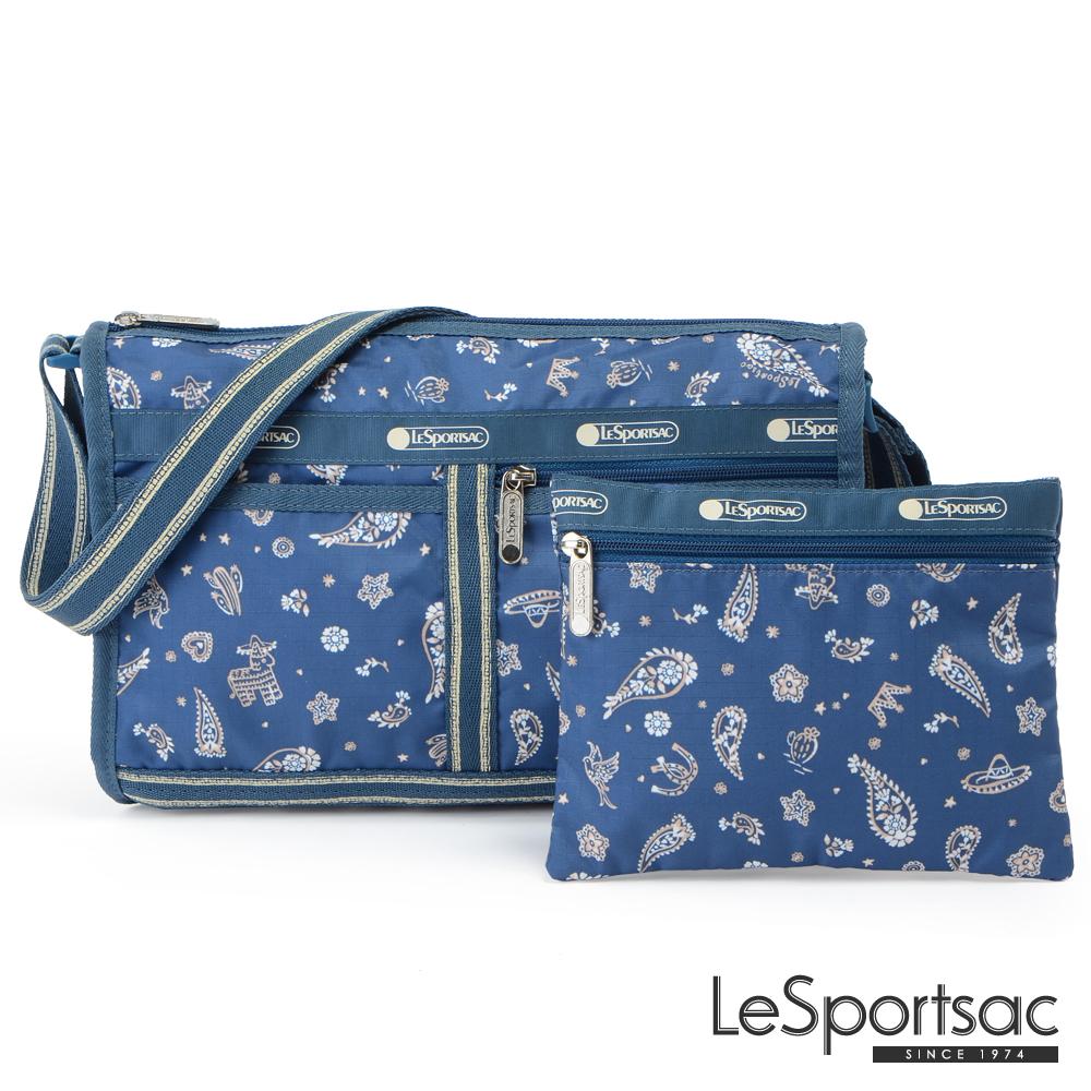 LeSportsac - Standard雙口袋斜背包-附化妝包(慶典藍)