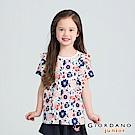 GIORDANO  童裝荷葉熱帶休閒印花T恤-13 海底藍X酷藍X粉紅X奶油