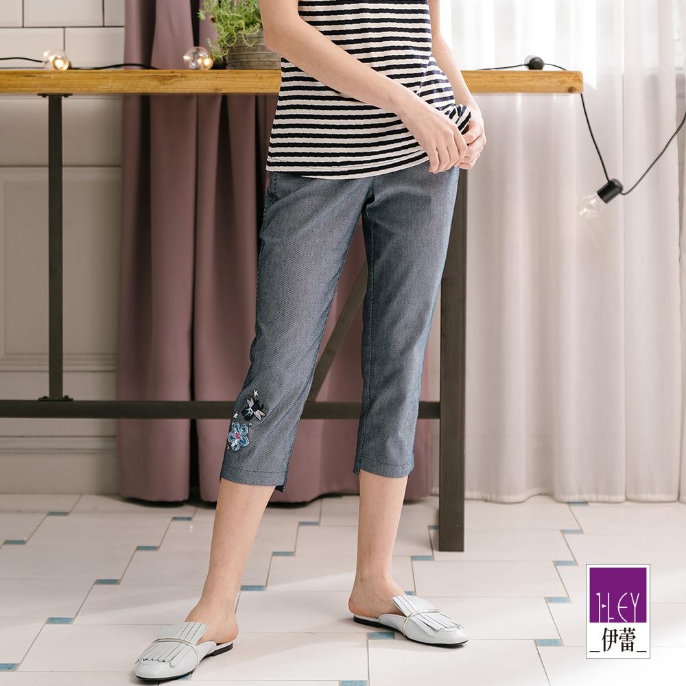 ILEY伊蕾 蜜蜂小花條紋七分窄管褲(水/藍) @ Y!購物