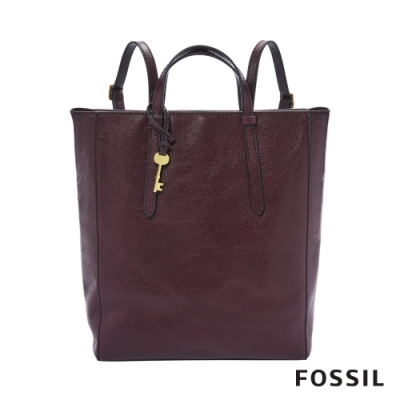 FOSSIL CAMILLA 真皮三用後背包(可置入13吋筆電)-無花果紫紅色