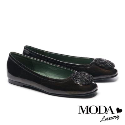 平底鞋 MODA Luxury 百搭實穿造型鐵絲圓釦方頭平底鞋-黑
