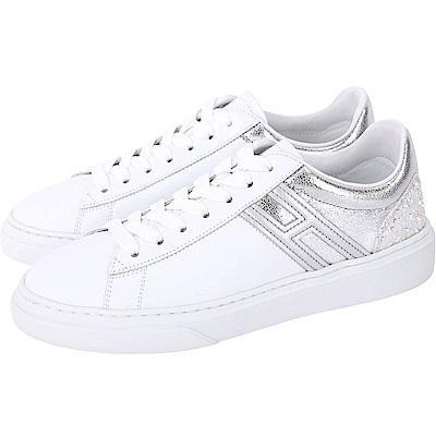 HOGAN H365 銀色細節拼接繫帶都市滑板鞋(白色)