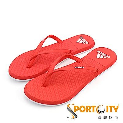 ADIDAS 男 女 夾腳人字拖鞋 紅-CP9874