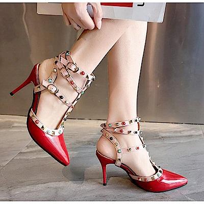 KEITH-WILL時尚鞋館 歡樂單品手作串珠細跟鞋-紅色