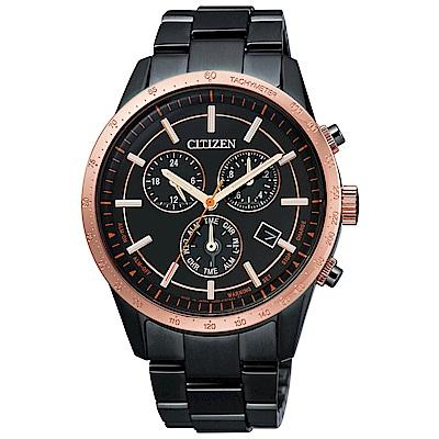 CITIZEN 星辰光動能三眼計時手錶組(BL5496-61E)-黑X玫瑰金框/39mm