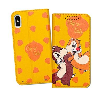 迪士尼授權正版 iPhone Xs / X 5.8吋 印花系列彩繪皮套(奇奇蒂蒂)