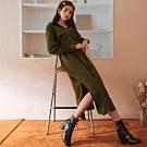 AIR SPACE LADY 知性燈心絨長袖襯衫洋裝(附腰帶)(軍綠)