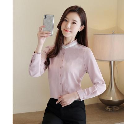 2F韓衣-韓系拼接立領線條造型上衣-新-2色(S-2XL)