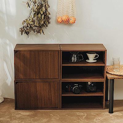 樂嫚妮 收納櫃/置物櫃/二層空櫃-2入組-淺胡桃木色