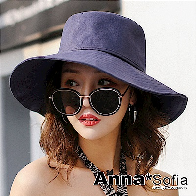 AnnaSofia 圈線單色後綁帶結 棉麻防曬寬簷遮陽帽(藏藍系)