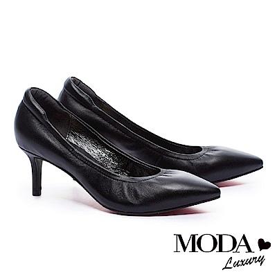 跟鞋 MODA Luxury 素面光澤質感全真皮尖頭高跟鞋-黑