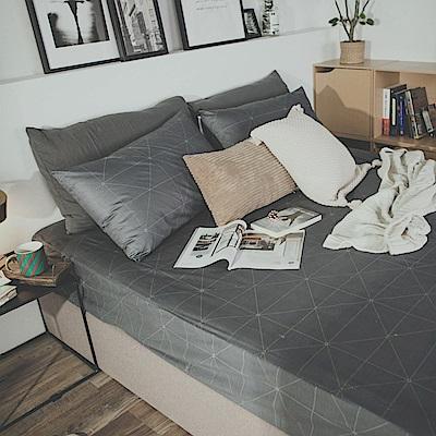 絲薇諾 MIT精梳純棉 艾維斯-黑 雙人三件式-床包枕套組